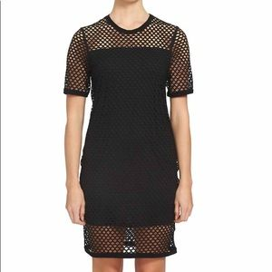 1 State Black Mesh T- Shirt Dress